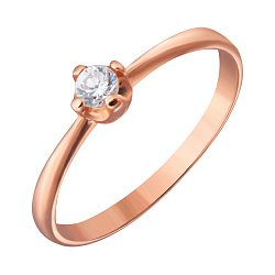 Золотое кольцо с фианитом Влюбленная душа