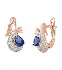 Серебряные серьги Берфане с позолотой, синими и белыми фианитами