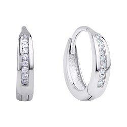 Серебряные серьги-колечки с дорожками из фианитов 000118204