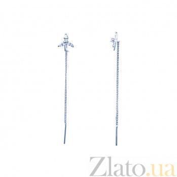 Серебряные серьги-цепочки с цирконами Лилии 000027198