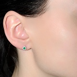 Серебряные серьги-пуссеты Солнышко с зелёным агатом