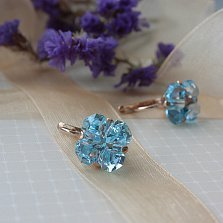Золотые серьги Обаяние с голубым топазом фантазийной формы