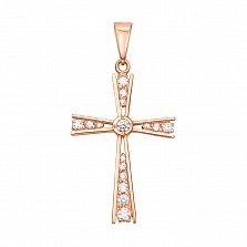 Декоративный крестик из красного золота с кристаллами Swarovski 000133535