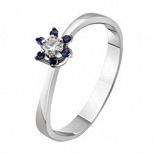 Золотое кольцо с бриллиантом и сапфирами Долорес