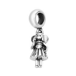 Серебряный шарм с подвеской-девочкой и родированием 000118338