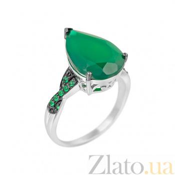 Серебряное кольцо Римма с зеленым агатом и фианитами 000081581