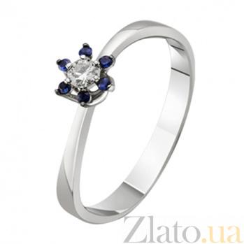 Золотое кольцо с бриллиантом и сапфирами Долорес KBL--К1010/бел/сапф