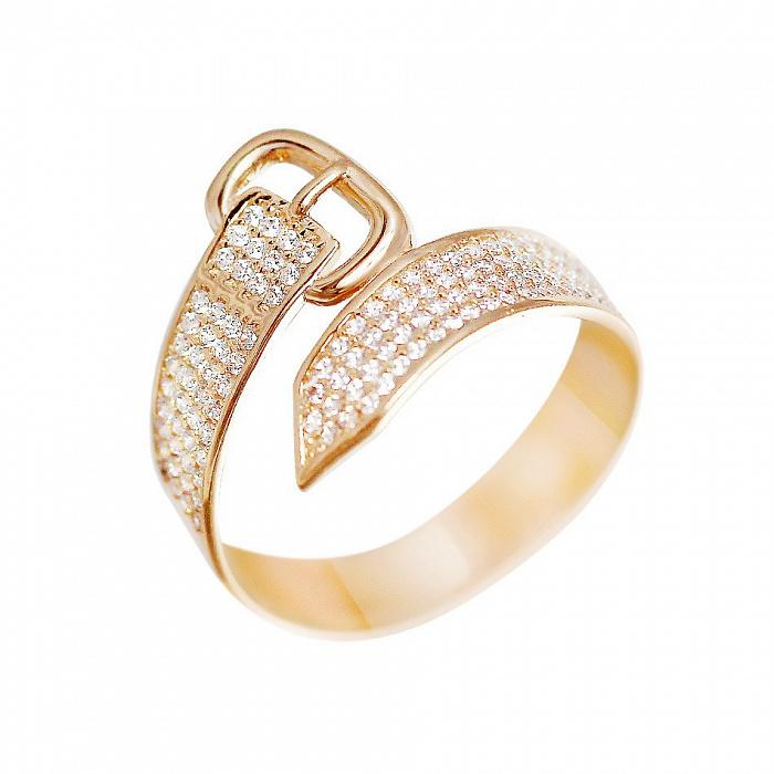 Кольцо из красного золота Ремешок с фианитами 000081351