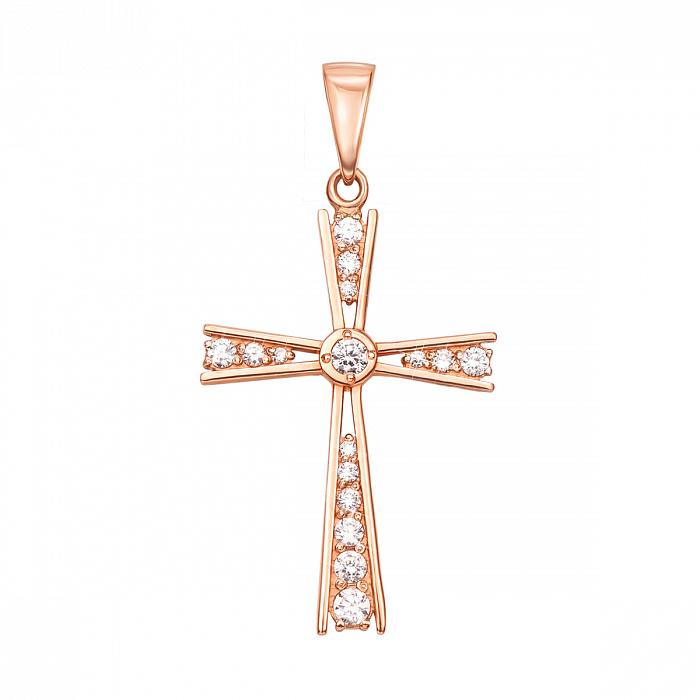 Декоративный крестик из красного золота с кристаллами Swarovski 000133535 000133535