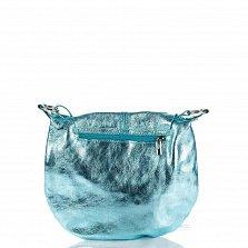 Кожаная сумка на каждый день Genuine Leather 1677 бирюзового цвета с клапаном и регулируемым ремнем