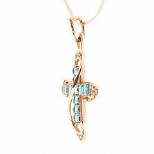 Золотой декоративный крест с бриллиантами и топазами Эйлат