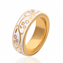 Обручальное кольцо Миртовая ветвь с белыми эмалью и бриллиантами