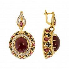 Золотые серьги-подвески Династия с рубинами, сапфирами и бриллиантами