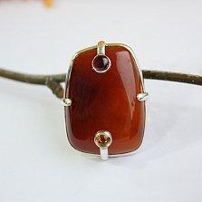 Серебряное кольцо с сердоликом, цитрином и родолитом Тоффи