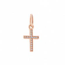 Серебряный крестик Надежда в позолоте с фианитами