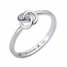 Серебряное кольцо Лунный цветок с бриллиантом