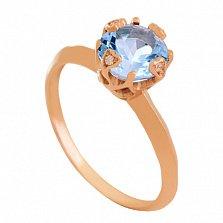 Золотое кольцо с топазом и фианитами Милдред