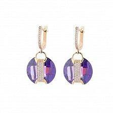 Золотые серьги-подвески Джильберта с фиолетовыми и белыми фианитами