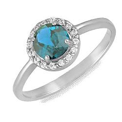 Золотое кольцо Ксения в белом цвете с синтезированным топазом и фианитами