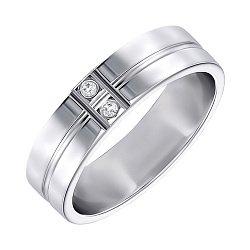 Обручальное кольцо из белого золота с фианитами 000000326