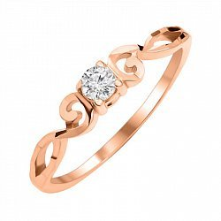 Золотое кольцо с цирконием 000055235