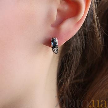 Серебряные серьги Диадора с лондон топазом и фианитами 000045608