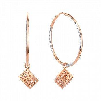 Золотые серьги-кольца с подвесками 000146232