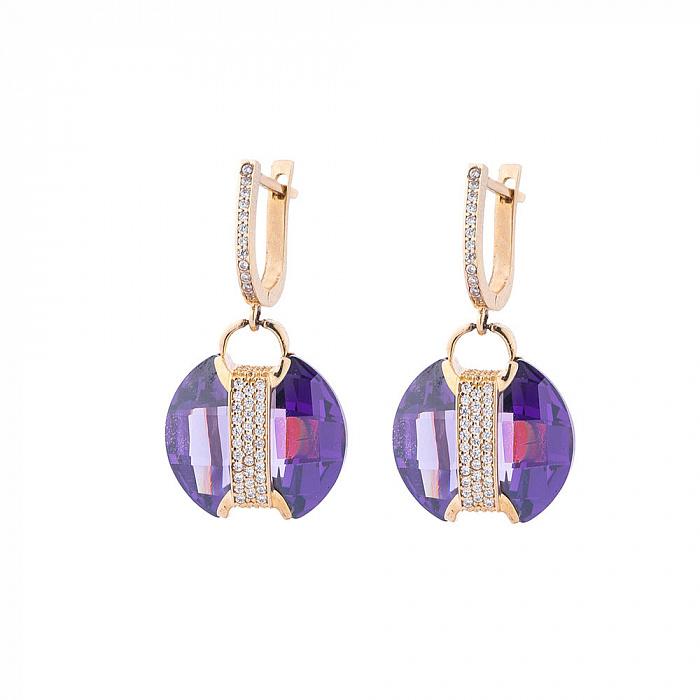 Золотые серьги-подвески Джильберта с фиолетовыми и белыми фианитами 000082537