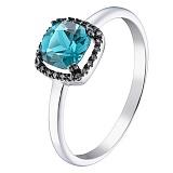Кольцо в белом золоте Лада с голубым топазом и бриллиантами