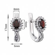 Серебряные серьги Жасмин с гранатами и цирконием