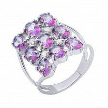 Серебряное кольцо Эдитта с фантазийной шинкой и фианитами
