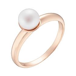 Кольцо в красном золоте с жемчугом 000023149