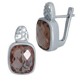Серебряные серьги Дебора с султанитами и узорными элементами