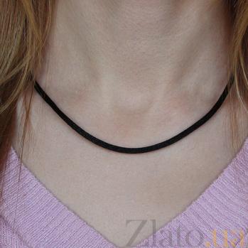 Черный шелковый шнурок с серебряной застежкой Модерн, 3мм 6152