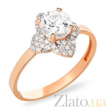 Кольцо из красного золота с фианитами Лилия SUF--153150