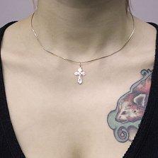 Крестик Символ защиты из красного золота с насечками