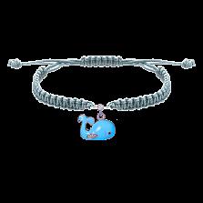 Детский плетеный браслет Рыба Кит с эмалью и фианитами, 10-20см