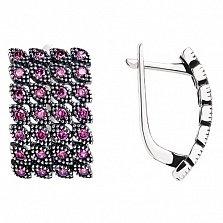 Серебряные серьги Люсьена с розовыми фианитами