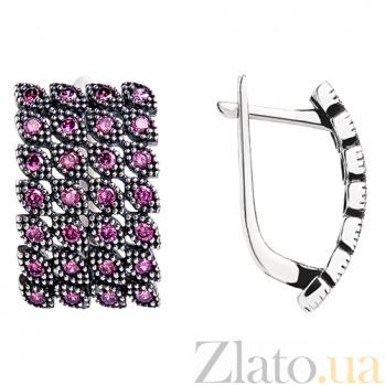 Серебряные сережки Люсьена 2476 роз