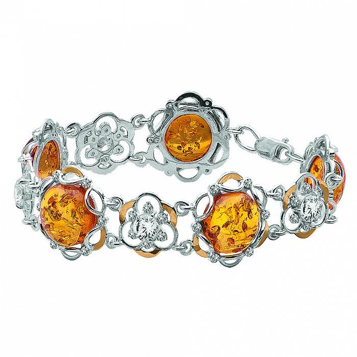 Серебряный браслет Элеонора с золотыми накладками, янтарем и фианитами 000116090