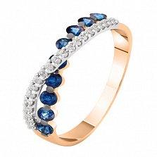 Золотое кольцо с бриллиантами и сапфирами Миледи