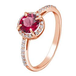 Золотое кольцо Камилла с гидротермальным рубином и фианитами 000031863