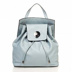 Кожаный рюкзак Genuine Leather 6202 нежно-голубого цвета с металической застежкой на клапане