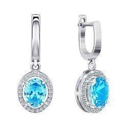 Серебряные серьги-подвески с голубыми и белыми фианитами 000024598