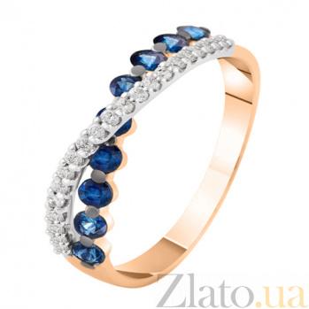 Золотое кольцо с бриллиантами и сапфирами Миледи KBL--К1899/крас/сапф