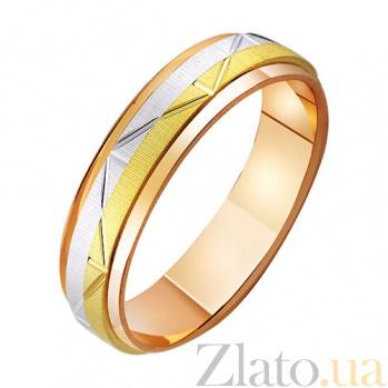Обручальное кольцо из комбинированного золота Динамика любви TRF--471114