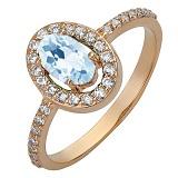 Золотое кольцо Шарлиз с голубым топазом и фианитами