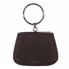 Кожаный клатч Genuine Leather 8812 темно-коричневого цвета с круглой металлической ручкой