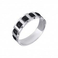 Серебряное кольцо Витольд с прямоугольниками черной эмали