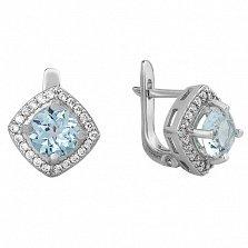 Серебряные серьги Элис с голубым топазом и фианитами